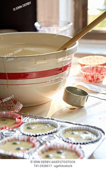 Baking, blueberry muffins