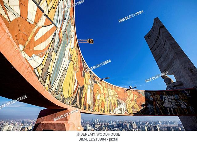 Zaisan Memorial mural painted on monument, Ulaanbaatar, Mongolia