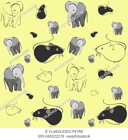 pattern with mice and elephants on yellow background