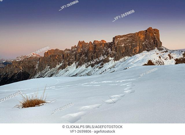 Europe, Italy, Veneto, Belluno. Lastoni di Formin in winter from the hills around Giau pass, Dolomites