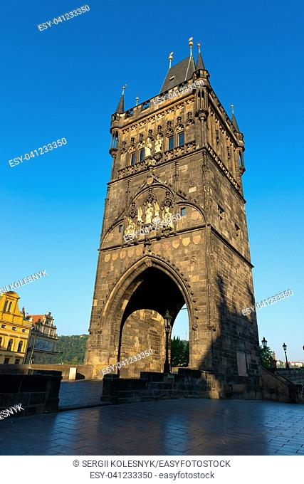 Staromestska Tower on Charles Bridge in Prague at early morning