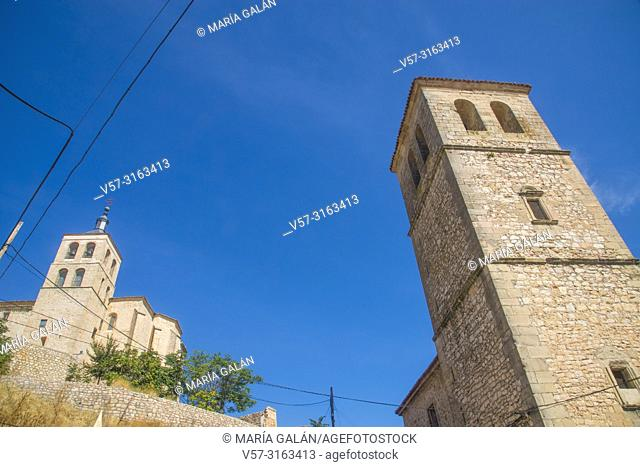 Santa Maria church and bell tower of San Pedro church. Cogolludo, Guadalajara province, Castilla La Mancha, Spain