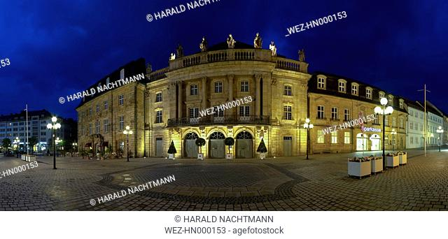 Germany, Bavaria, Bayreuth, View of Margravial Opera House at night