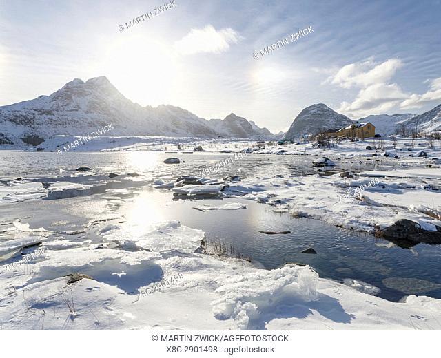 Village Selfjord on island Moskenesoya. The Lofoten Islands in northern Norway during winter. Europe, Scandinavia, Norway, February
