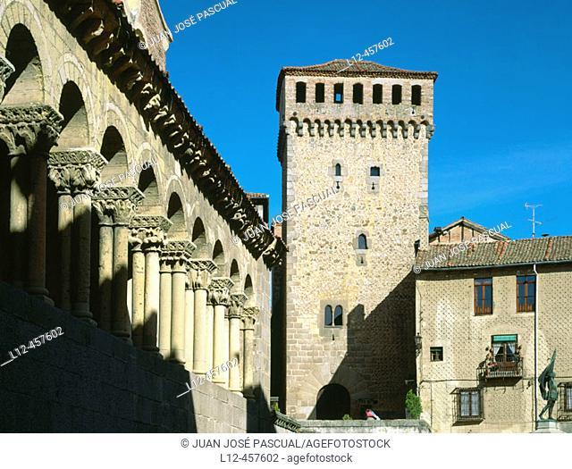 Lozoya Tower ans St. Martin's Church, Segovia. Castilla-León, Spain