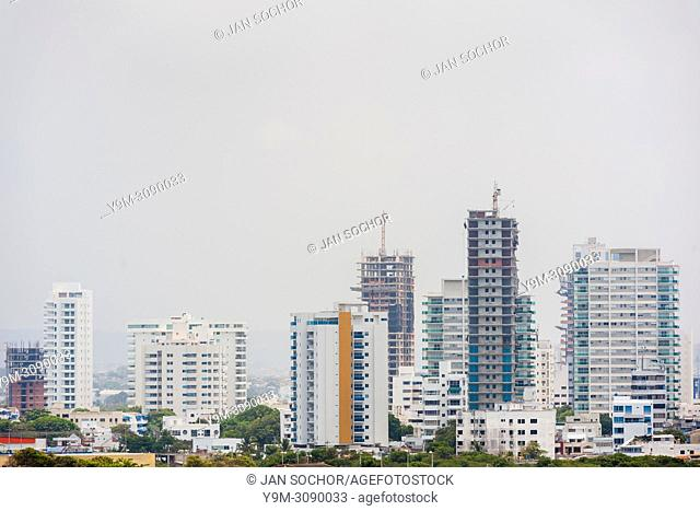 Newly constructed apartment buildings are seen on Bahía de Manga's skyline in Cartagena, Colombia, 15 April 2018. With the peace agreement