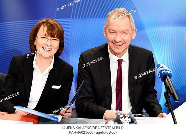 Dagmar Reim, director of the Berlin-Brandenburg Broadcasting (rbb), and Volker Herres, program director of First German Television (ARD) explain the directors...