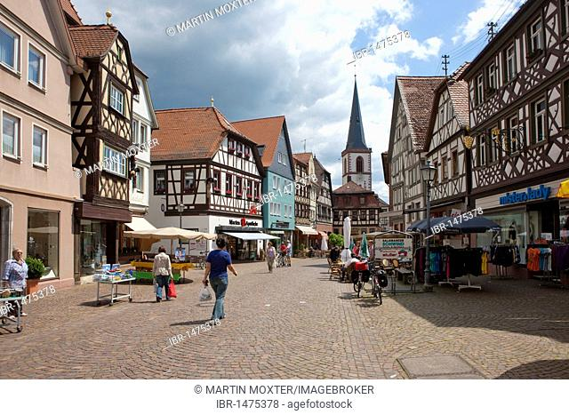 Historic town centre of Lohr am Main, Hesse, Germany, Europe