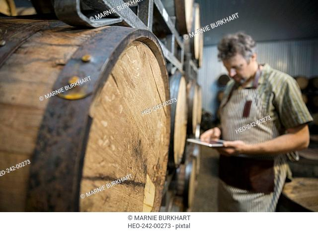 Worker with digital tablet oak barrels distillery cellar