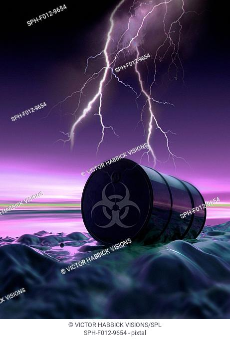 Toxic waste, illustration. Dumped barrel with a biohazard symbol