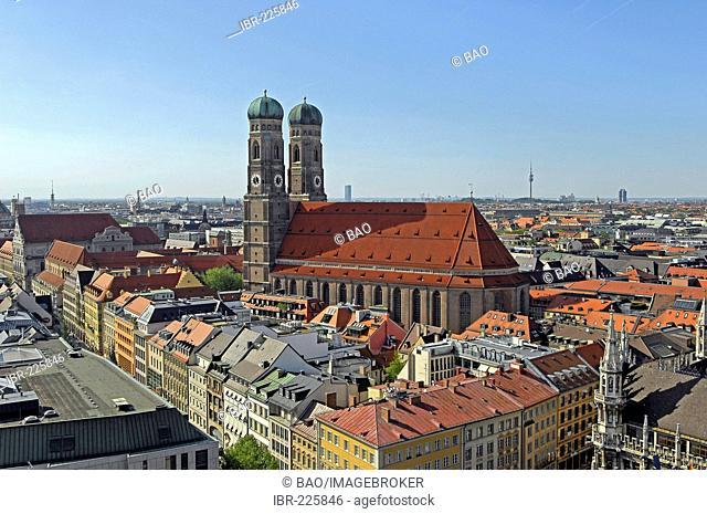 Panorama with church Frauenkirche, Munich, Bavaria, Germany