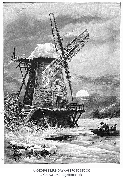 1870: On a frosty moonlit night, a wildfowler prepares his punt. On the River Thames near the old Hampton Windmill, Surrey, England