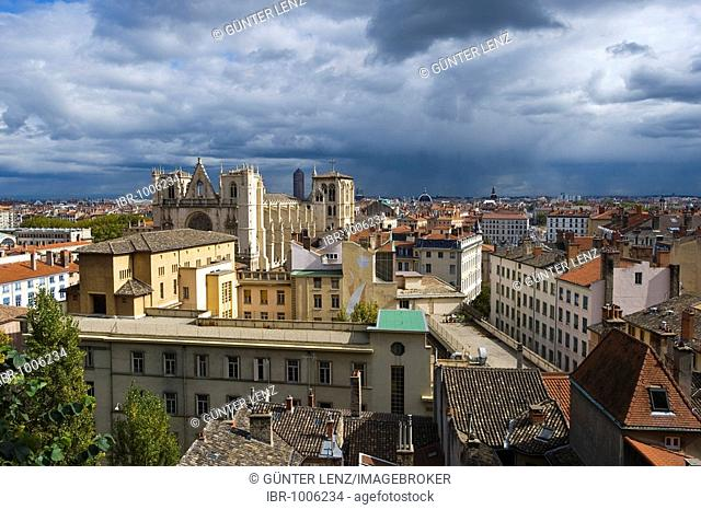 Cityscape and Saint Jean Cathedral in Lyon, France, Europe