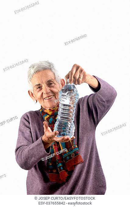 senior woman drinking water. on white background