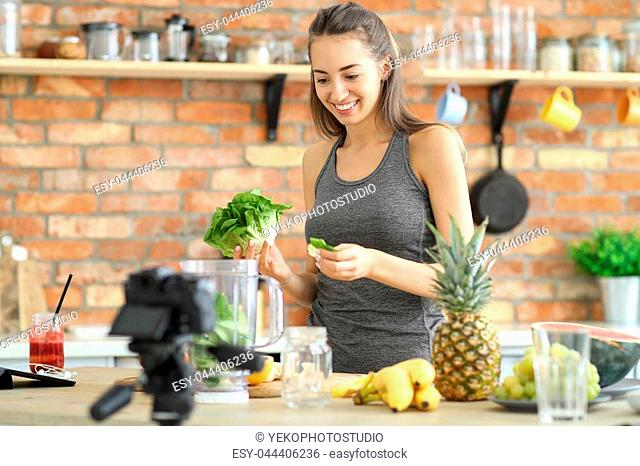 Food vlogger in the kitchen