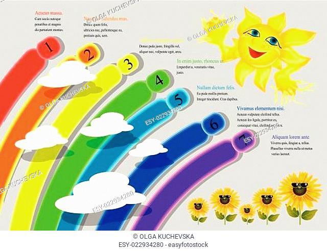 cartoon rainbow infographics
