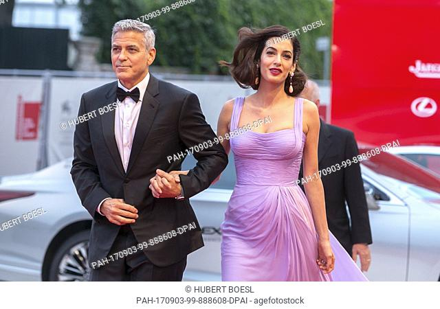 George Clooney and Amal Clooney attend the premiere of 'Suburbicon' during the 74th Venice Film Festival at Palazzo del Cinema in Venice, Italy