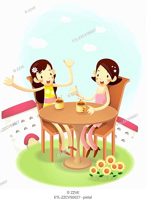 Side view of girls sitting in chair on having coffee