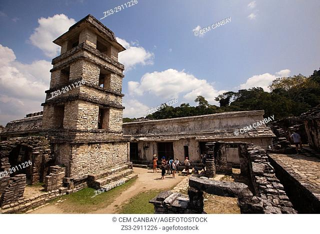 Visitors in front of the Palace in Palenque Archaeological Site, Palenque, Chiapas State, Mexico, Central America