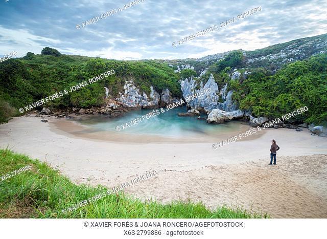 The inner beach of Gulpiyuri near Naves, Asturias, Spain