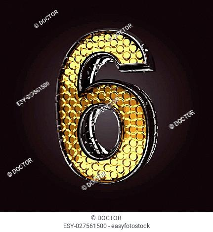 6 vector golden and silver letter
