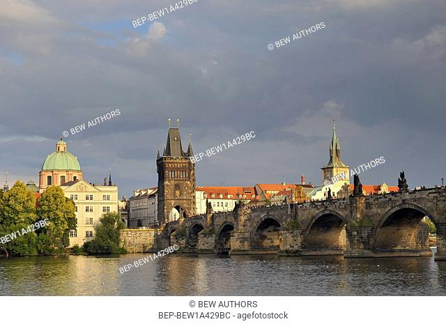 View of Charles bridge and Vltava river in Prague