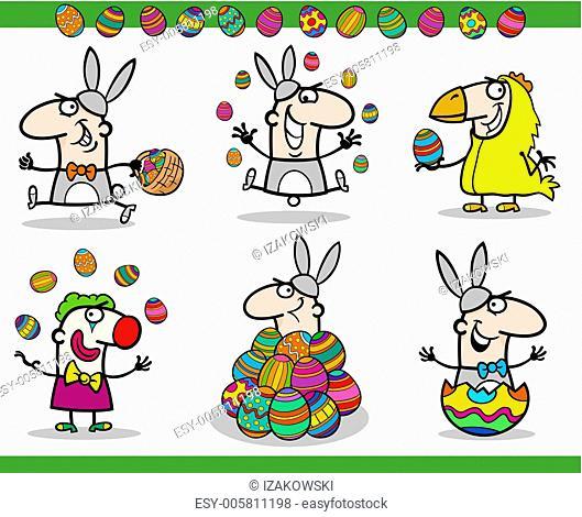 easter themes set cartoon illustration