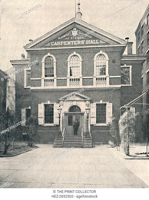 'Carpenter's Hall, Philadelphia', 1904. Carpenters' Hall is a two-story brick building in the Old City neighborhood of Philadelphia, Pennsylvania