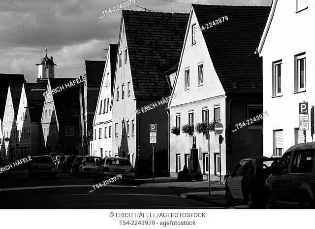 Historic old town houses in the Weber Street in Memmingen, Allgaeu