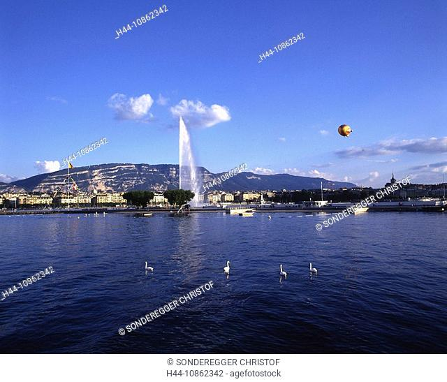 Jet d`Eau, fountain, Geneva city, Lake Geneva, Lac