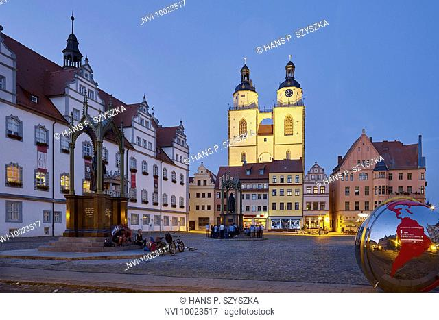 Market with City Hall and St. Mary's Church in Wittenberg, Saxony-Anhalt, Germany