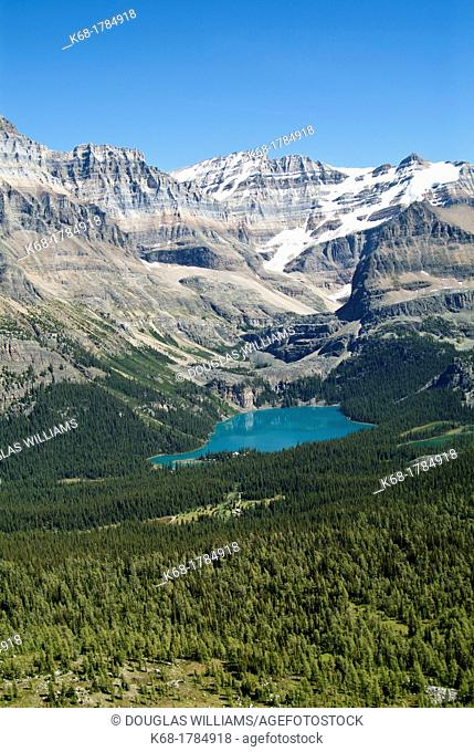Lake O'Hara in Yoho National Park, British Columbia, Canada, is one of the most popular hiking areas in the Canadian Rocky Mountains