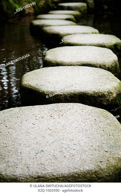Stepping stones over a pond in a zen garden in Kyoto Japan