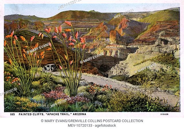 Painted Cliffs - 'Apache Trail' - Arizona, USA. The Apache Trail is known as the greatest scenic highway in America, 120 miles long between Phoenix and Globe