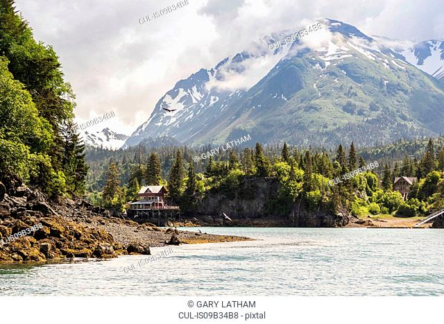 Waterfront buildings by snow capped mountains, Halibut Cove, Kachemak Bay, Alaska, USA
