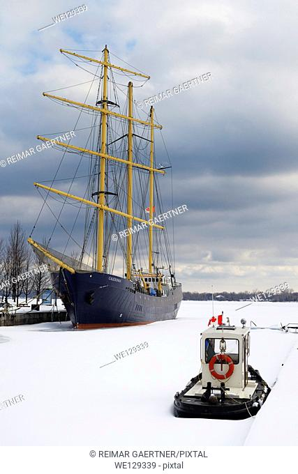 Caledonia tall ship and tugboat locked in ice and snow in Toronto Harbour