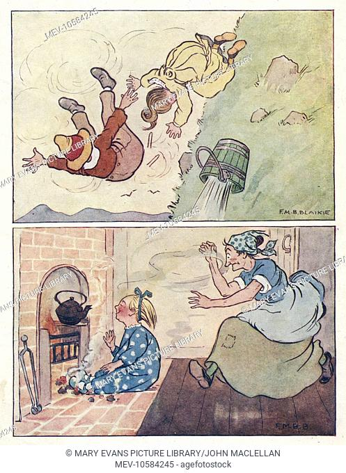 Nursery Rhymes -- two illustrations. Above -- Jack and Jill falling down the hill. Below -- Little Polly Flinders sitting among the cinders