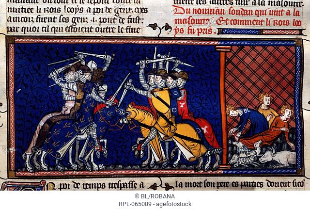 A battle scene and deaths from pestilence. The crusades