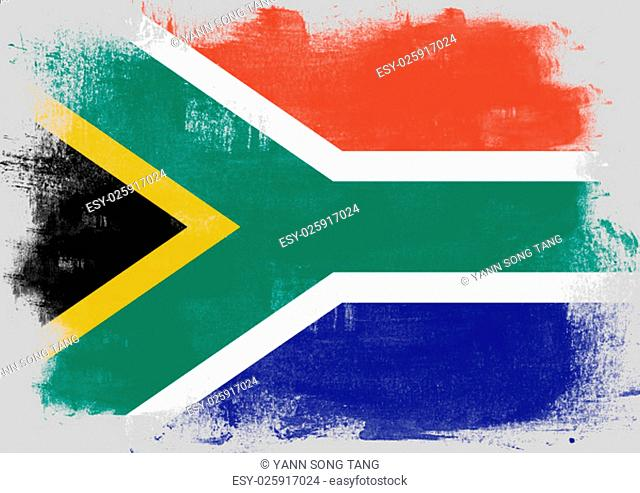 Flag of South Africa painted with brush on solid background