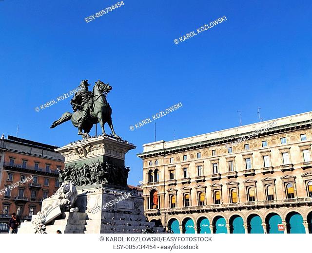 Piazza del duomo in Milan, Lombardy, Italy