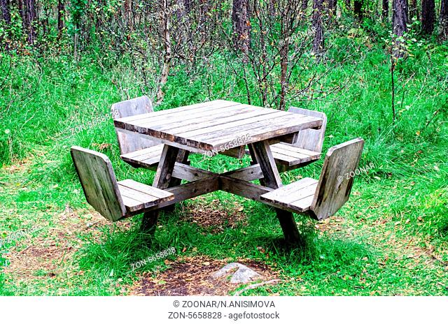 Wooden table in forest at rest area