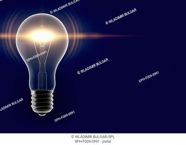 Artwork of an illuminated light bulb
