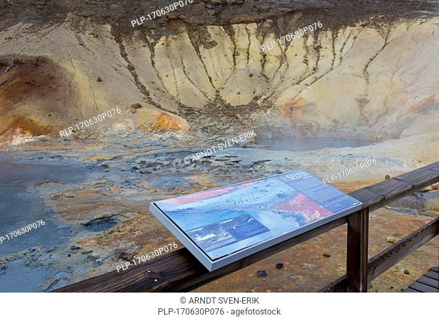 Information board at Seltun, geothermal field showing volcanic fumaroles, mud pots and hot springs, Reykjanes Peninsula, Iceland