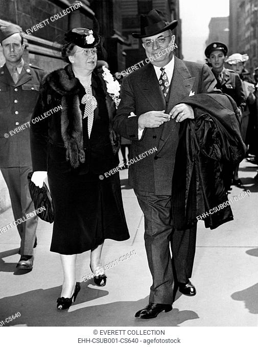 Mr. and Mrs. Henry Kaiser in the 5th Avenue Easter Parade outside St. Thomas Church. New York City , April 25, 1943. During World War II he established the...
