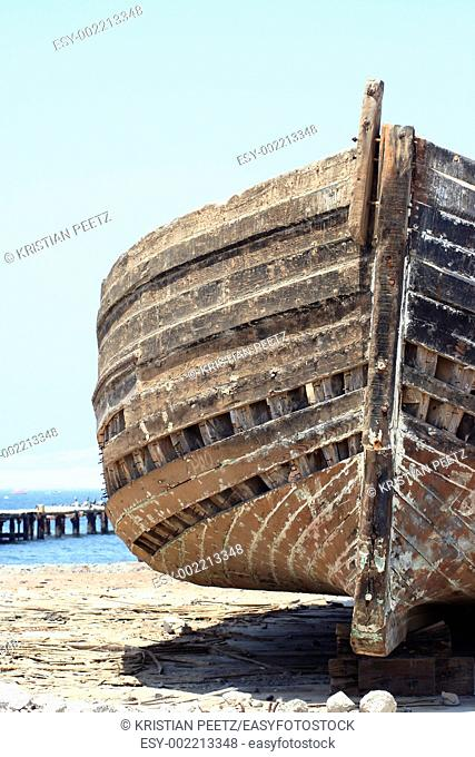 Old decaying fisherboat wreck abandoned on the shores of Paracas, Peru  Once a proud boat    now abandoned and decaying