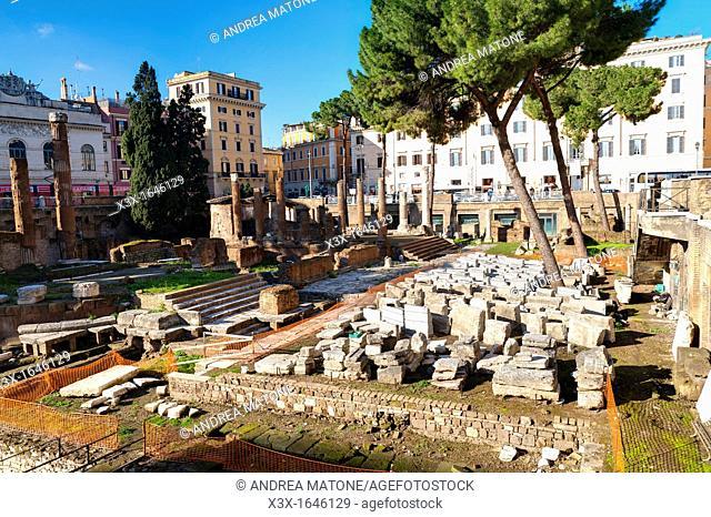 Monuments in Campus Martius Largo Argentina Rome Italy