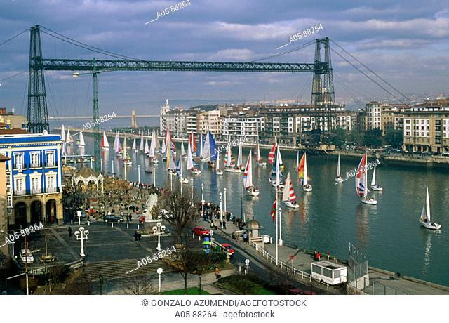 Sailboats race. Puente de Bizkaia, suspension bridge. Portugalete. Biscay, Euskadi, Spain