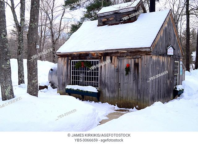 A Sugar Maple Shack In New Hampshire at Christmas