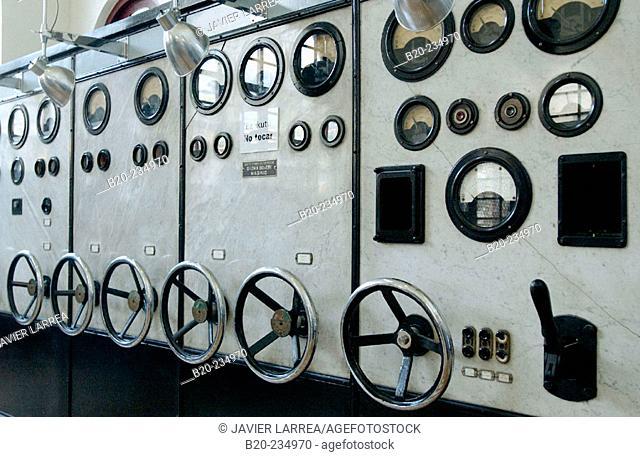 Control room, dials and valves at museum of railway history. Azpeitia. Guipúzcoa, Euskadi. Spain