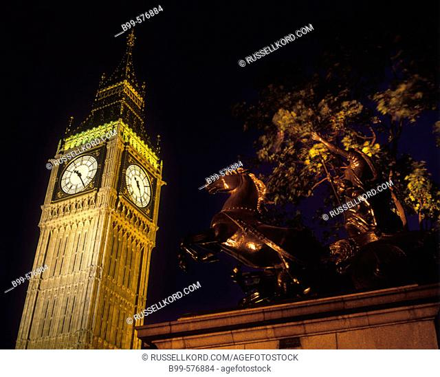 Boadicea Statue, Big Ben, Parliament, London, England, Uk